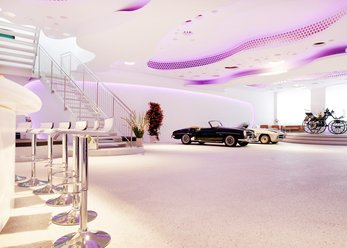 Classic car showroom with organic shapes